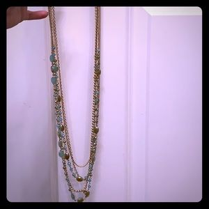 Premier Design aqua and gold tiered necklace